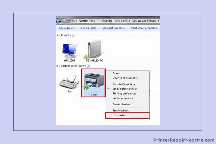 "Select the ""Properties"" - Epson printer offline"